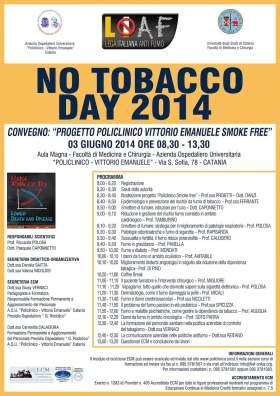 """LIAF partecipa al NO TOBACCO DAY 2014 con il Convegno """"Policlinico-V.Emanuele smoke free"""""""